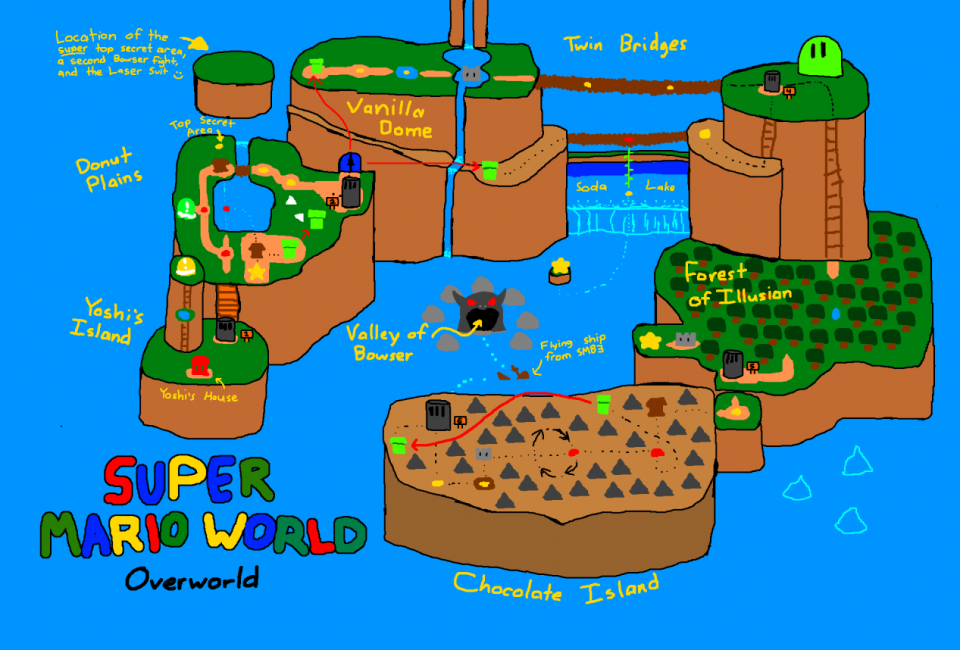 Mental mapping video game maps drawn from memory copy paste by super mario world world map by fliptaco gumiabroncs Image collections