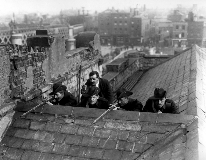 ICA) men on a Dublin rooftop 1916