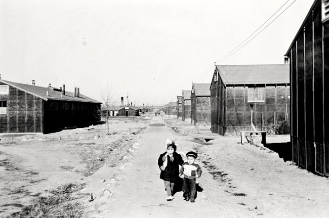 Two children in camp c 1943 Minidoka concentration camp Idaho
