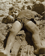 Billy and Graham Green at the beach