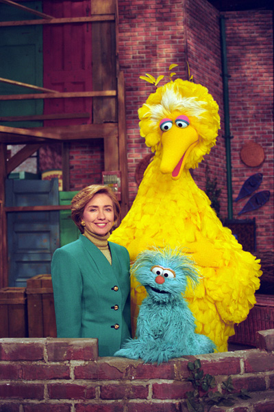 First Lady Hillary Rodham Clinton Posing with Big Bird