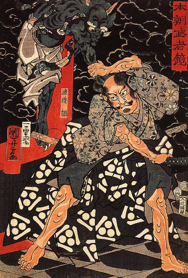 611px-Watanabe_Tsuna_fighting_the_demond_at_the_Rashomon